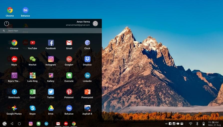 Prime OS start menu