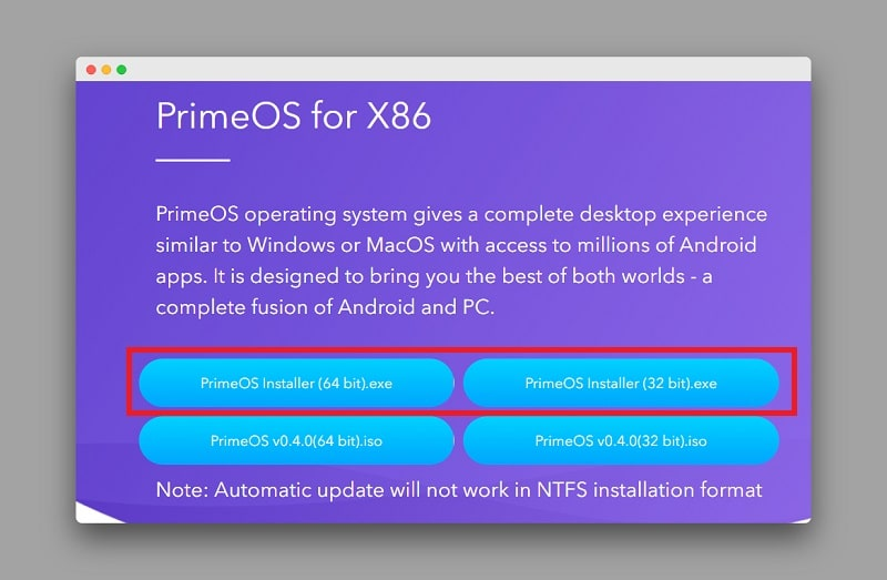 Prime OS download page