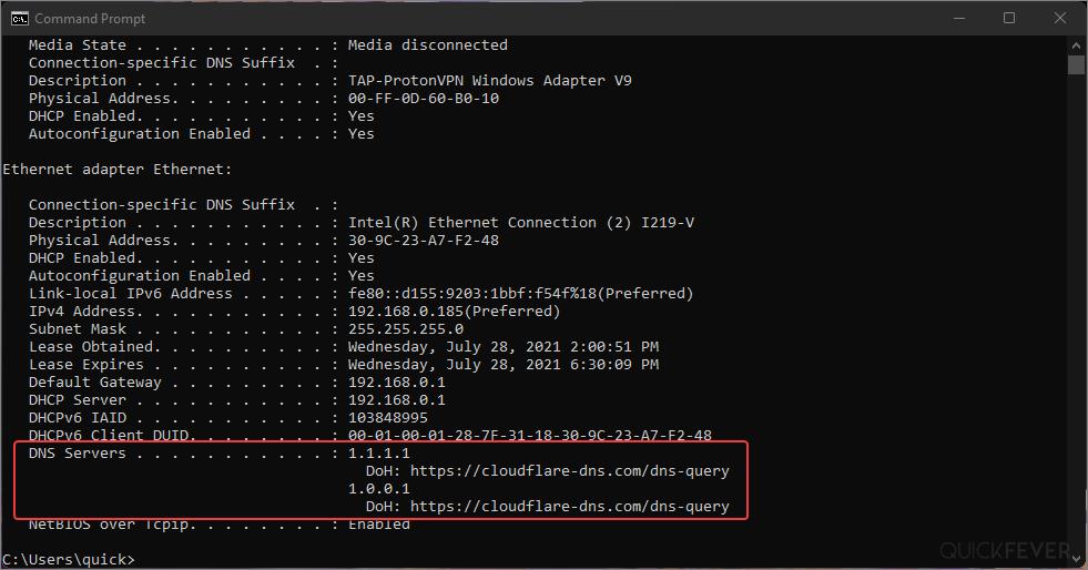 Check DNS server on Windows 11