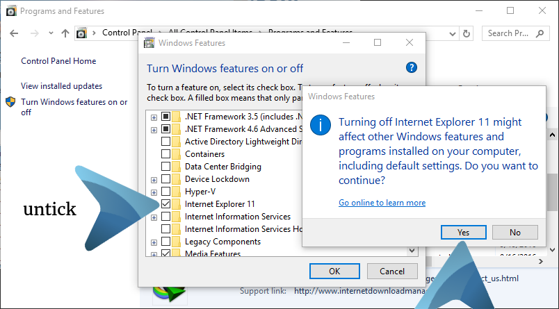 internet explorer, windows 10, windows 8, remove, uninstall