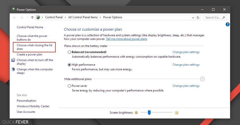 عکس گزینه تنظیمات درب لپ تاپ برای خاموش یا خاموش نشدن لپتاپ در زمان بستن درب لپتاپ