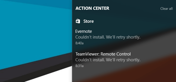 windows 10 store app not working notification
