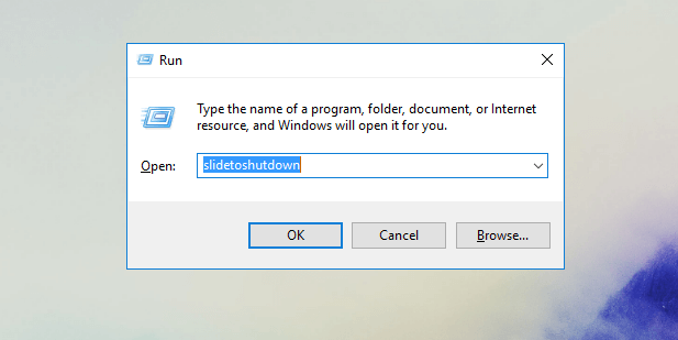 slide to shutdown, windows 10
