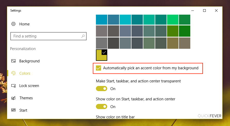 how to change taskbar color windows 10