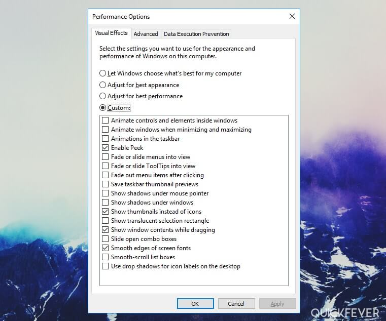 make windows 10 faster by reducing visual effects