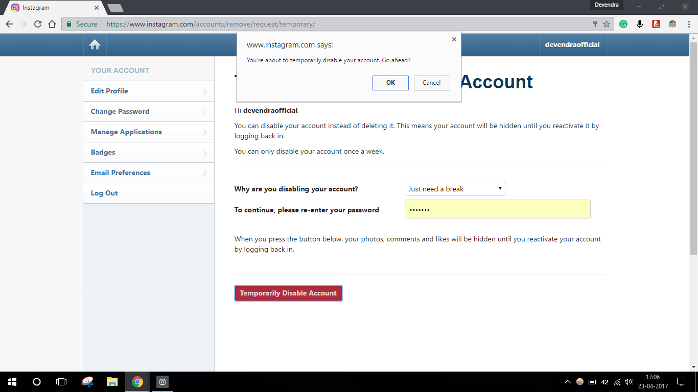 how to disable insta account for some time