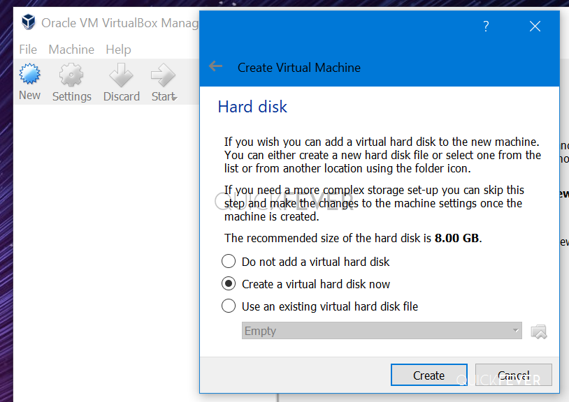Virtualbox selecting hard disk space for pop os