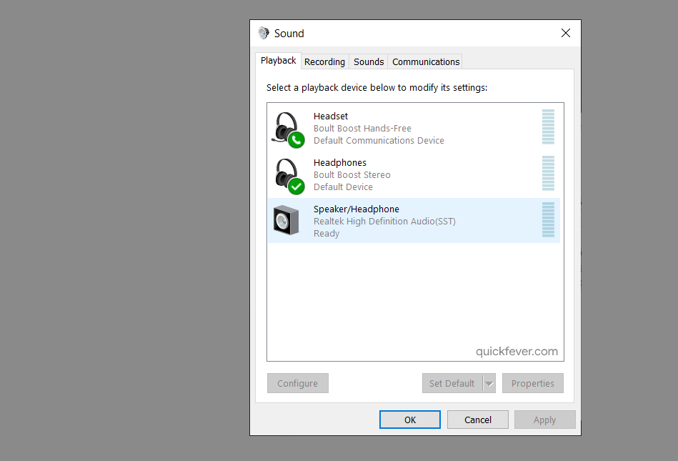 set playback device in windows