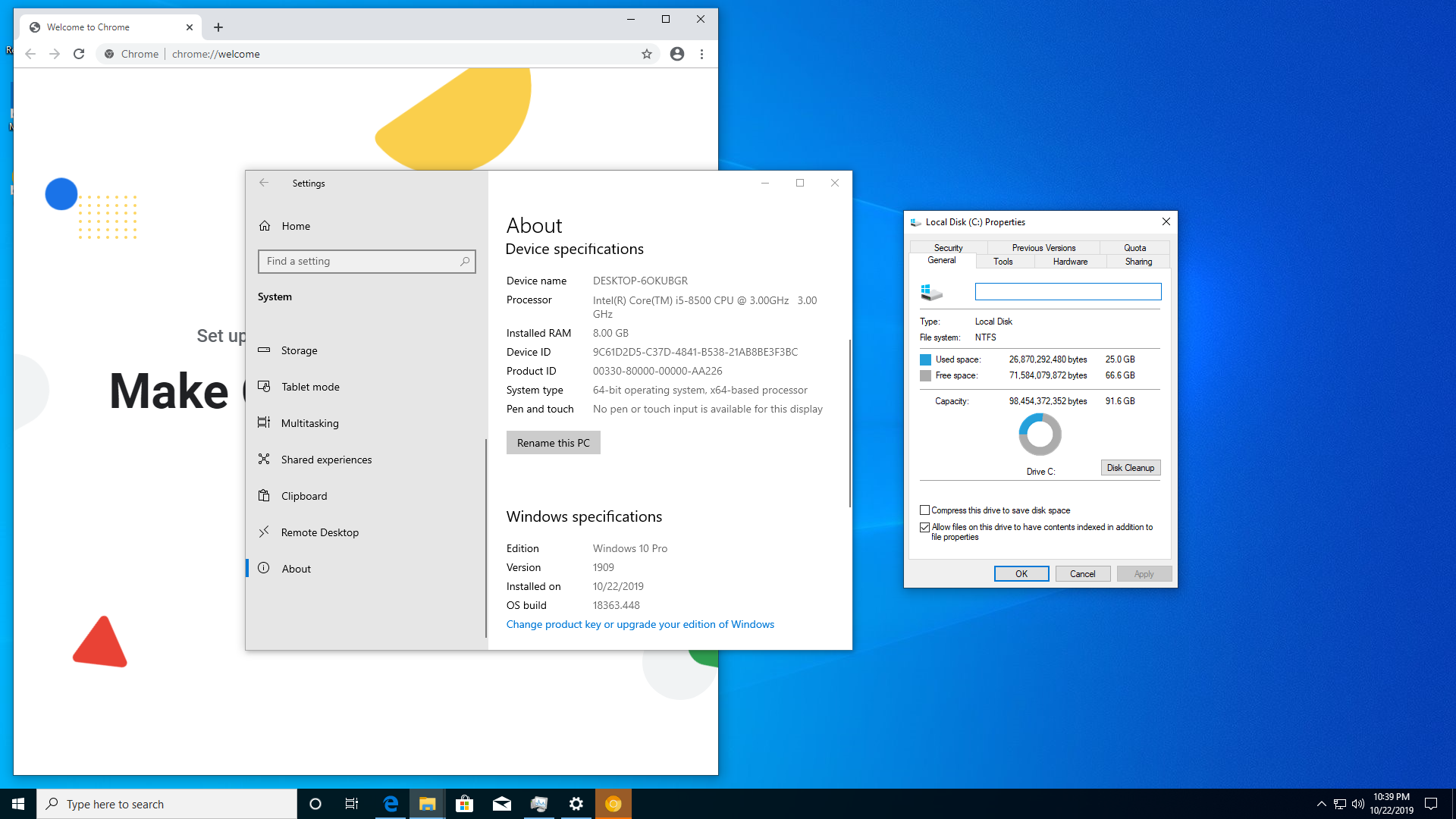 Windows 10 1909 hard drive usage