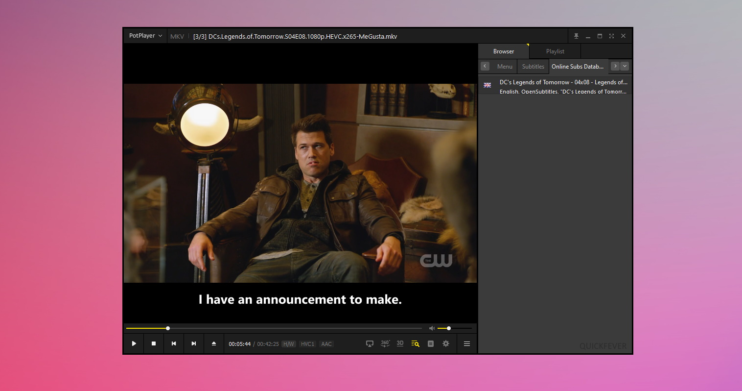 Potplayer windows 10 video player now have easy accessible subtitle menu in right panel