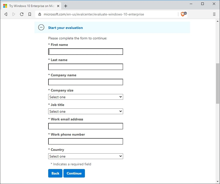 windows 10 enterprise evaluations selection page