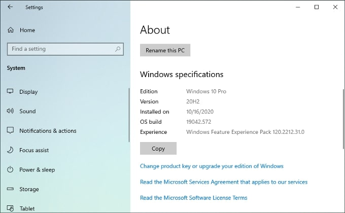 Windows 10 system and Windows specifications.