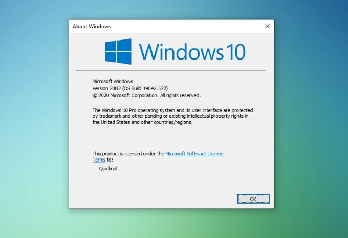 Windows 10 system information.