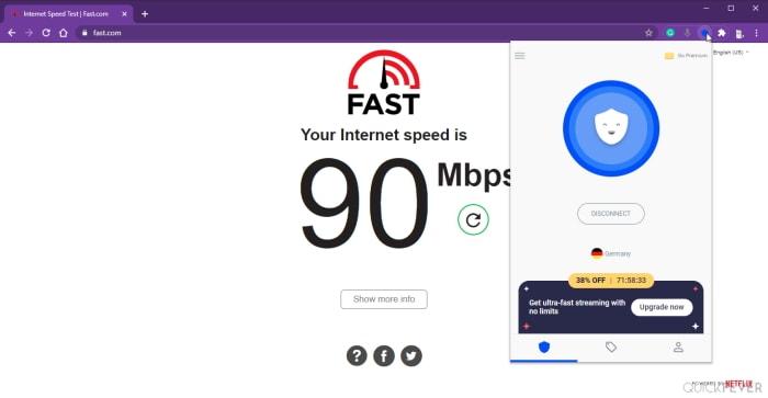 betternet speed test using fast.com google chrome