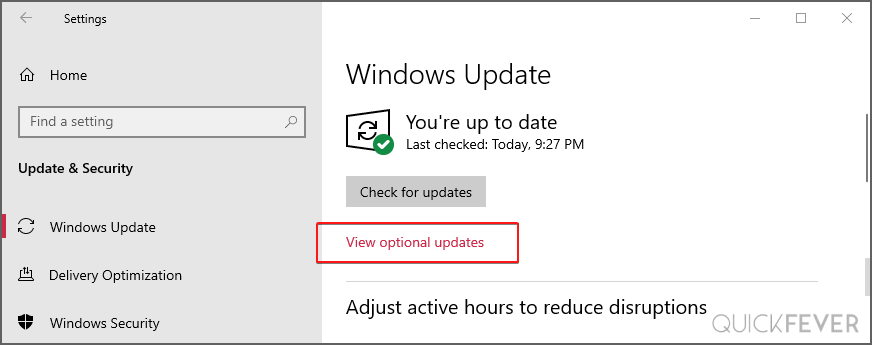 View optional updates in Windows 10