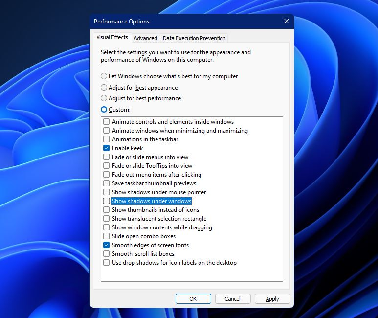 speed up windows 11 by reducing visual effects