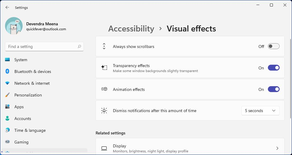 speed up windows 11 visual effects